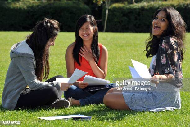 Melihah Hassan Jade Duong and Sivahami Balakumaran celebrate receiving their GCSE results at Chelmsford County High School for Girls in Chelmsford...