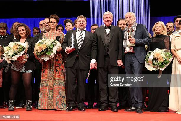 Melika Foroutan Armin Rohde Volker Bouffier Michael Gwisdeck and Sabine Postel during the Hessian Film and Cinema Award 2015 at Alte Oper on October...