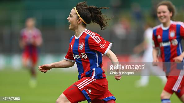 Melike Pekel of Bayern celebrates the first goal during the Women's 2nd Bundesliga match between 1 FC Koeln and Bayern Muenchen II at FranzKremer...