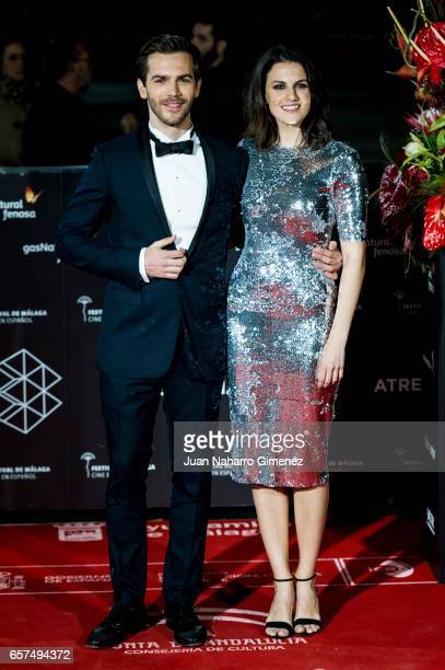 Melina Matthews and Marc Clotet attend the 'El Jugador de Ajedrez' premiere on day 5 of the 20th Malaga Film Festival at the Cervantes Theater on...