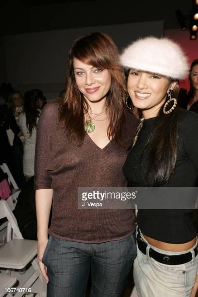Melinda Clarke and Kelly Hu during MercedesBenz 2005 Spring Fashion Week at Smashbox Studios Kate O'Connor Front Row and Backstage at Smashbox...