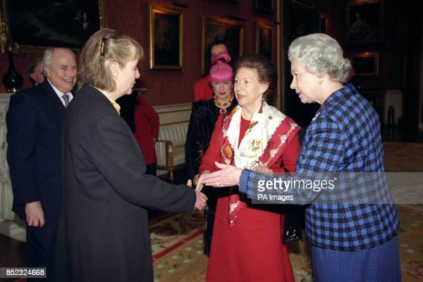 Melinda Coss with Princess Margaret and the Queen in the Picture Gallery at Buckingham Palace