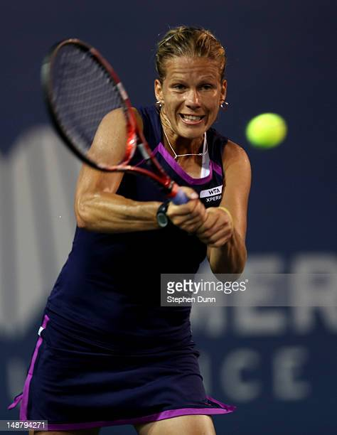 Melinda Czink of Hungary hits a shot to Jelena Jankovic of Serbia during day six of the Mercury Insurance Open Presented By TriCity Medical at La...