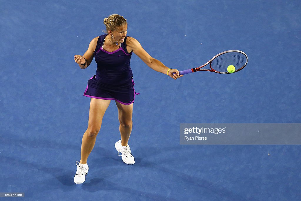 Melinda Czink of Hungary plays a forehand during her first round match against Ana Ivanovic of Serbia during day one of the 2013 Australian Open at Melbourne Park on January 14, 2013 in Melbourne, Australia.