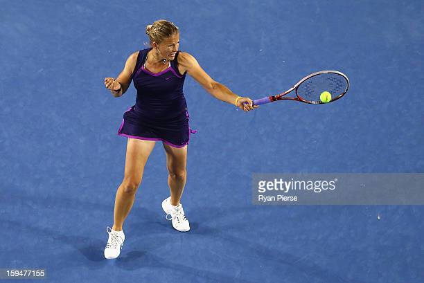 Melinda Czink of Hungary plays a forehand during her first round match against Ana Ivanovic of Serbia during day one of the 2013 Australian Open at...