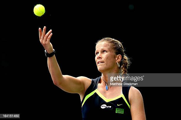 Melinda Czink of Hungary serves to Olga Govortsova of Belarus during the Sony Open at Crandon Park Tennis Center on March 20 2013 in Key Biscayne...