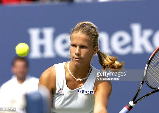 Melinda Czink sets to volley Friday August 29 2003 at the U S Open in New York Czink was defeated by thirdseeded Lindsay Davenport