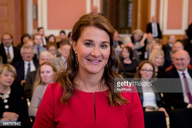Melinda Gates is pictured as she awaits to receive the OttoHahn Peace Medal for her philanthropic activity against poverty and sickness in the world...