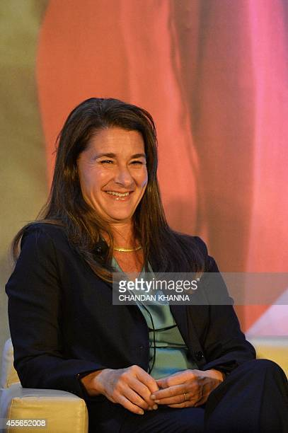 Melinda Gates of the Bill Melinda Gates Foundation gestures during a conversation with Indian author Chetan Bhagat at an 'All Lives Have Equal Value'...