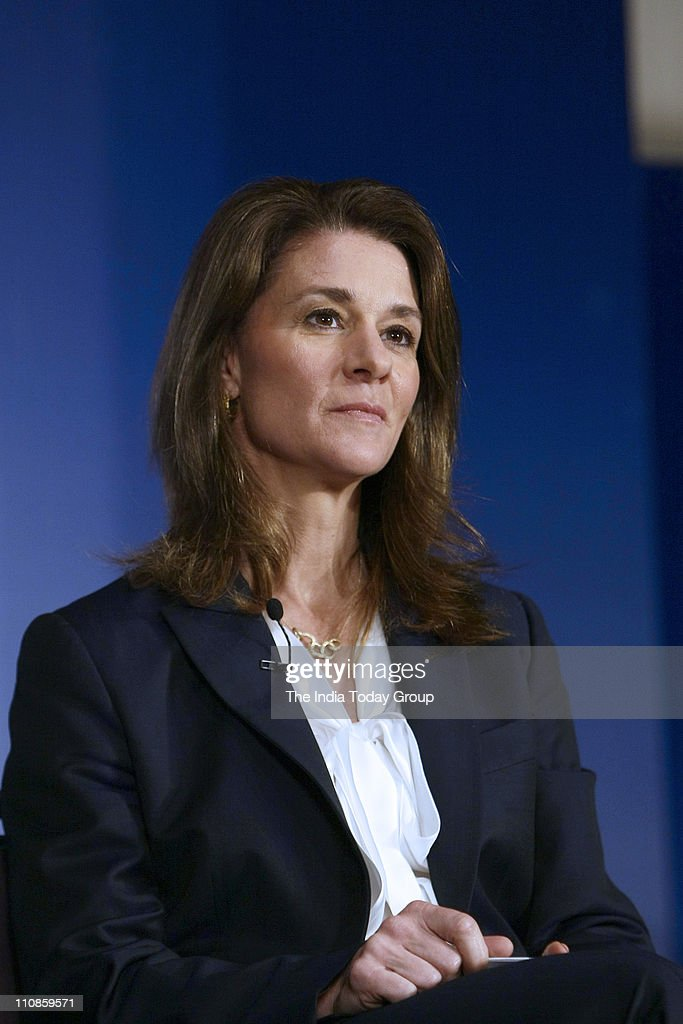 Melinda Gates wife of Microsoft Corp founder Bill Gates and cochair of the Bill and Melinda Gates Foundation during a press conference in New Delhi...