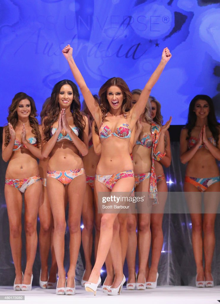 Melinda Kemp from Rhodes, New South Wales reacts as she is called on stage during Miss Universe Australia 2014 on June 6, 2014 in Melbourne, Australia.