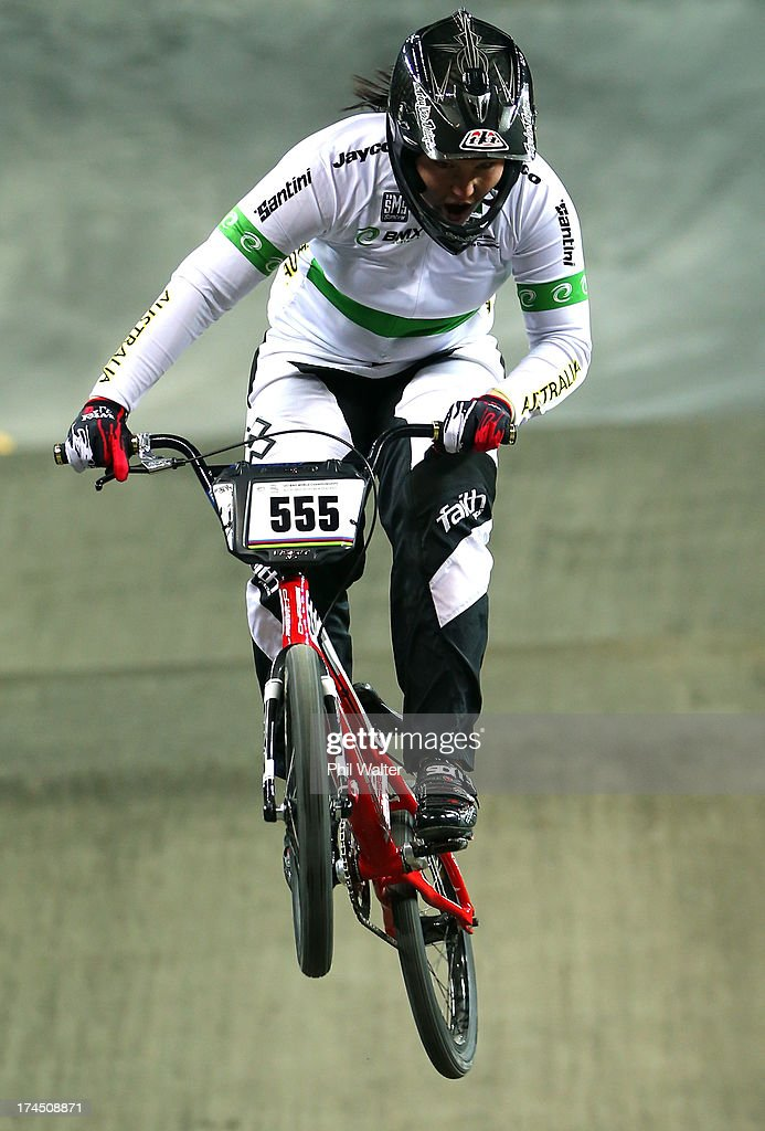 Melinda McLeod of Australia competes in the Elite Women Time Trial during day four of the UCI BMX World Championships at Vector Arena on July 27, 2013 in Auckland, New Zealand.