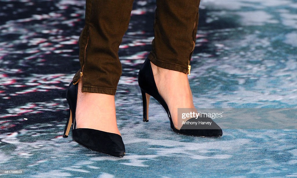 <a gi-track='captionPersonalityLinkClicked' href=/galleries/search?phrase=Melinda+Messenger&family=editorial&specificpeople=171683 ng-click='$event.stopPropagation()'>Melinda Messenger</a> (Shoe Detail) attends the UK premiere of 'Noah' at Odeon Leicester Square on March 31, 2014 in London, England.