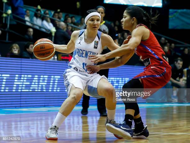 Melisa Gretter of Argentina fights for the ball with Pamela Rosado of Puerto Rico during a match between Argentina and Puerto Rico as part of the...