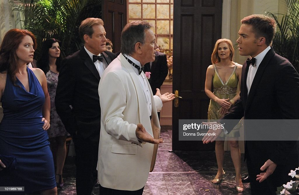 LIVE - Melissa Archer (Natalie), Brian Kerwin (Charlie), Eddie Alderson (Matthew), Robert S. Woods (Bo), Gina Tognoni (Kelly) and John-Paul Lavoisier (Rex) in a scene that begins airing the week of May 31, 2010 on ABC Daytime's 'One Life to Live.' 'One Life to Live' airs Monday-Friday (2:00 p.m. - 3:00 p.m., ET) on the ABC Television Network. OLTL10 (Photo by Donna Svennevik/ABC via Getty Images) MELISSA
