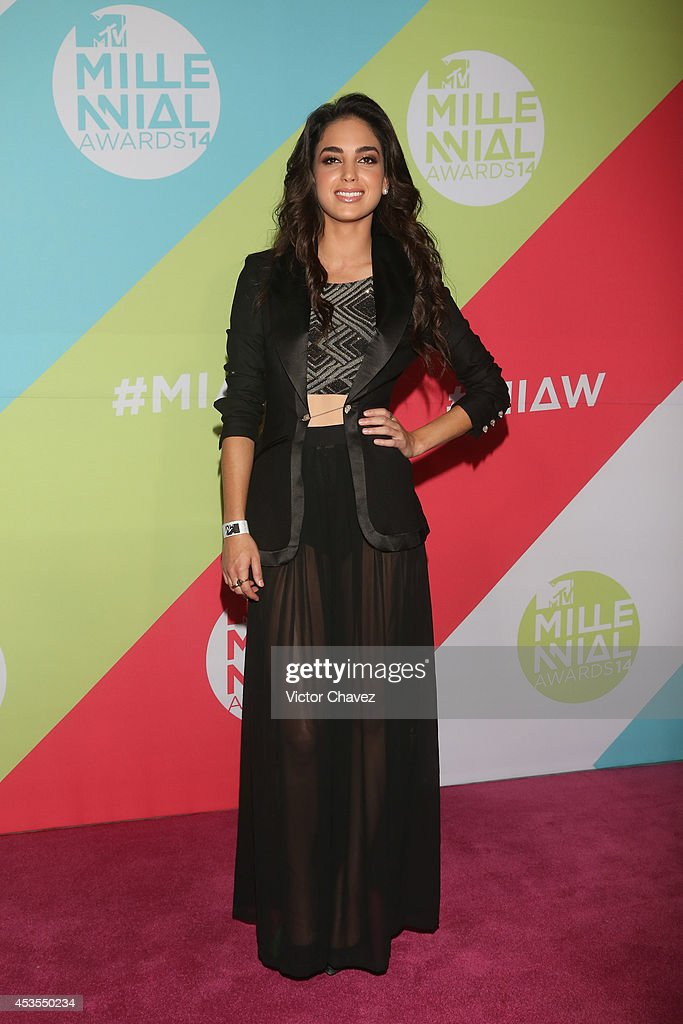 Melissa Barrera attends the MTV Millennial Awards 2014 red carpet at Pepsi Center WTC on August 12 2014 in Mexico City Mexico