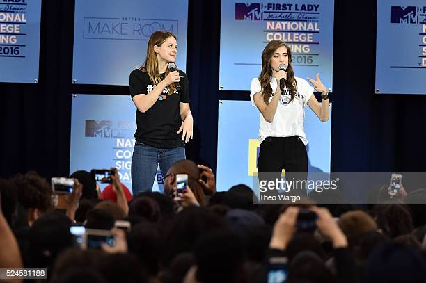 Melissa Benoist and Allison Williams speak at the 3rd Annual College Signing Day at the Harlem Armory on April 26 2016 in New York City The event...