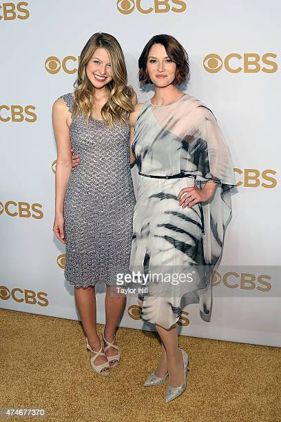 Melissa Benoist and Chyler Leigh attend the 2015 CBS Upfront at The Tent at Lincoln Center on May 13 2015 in New York City