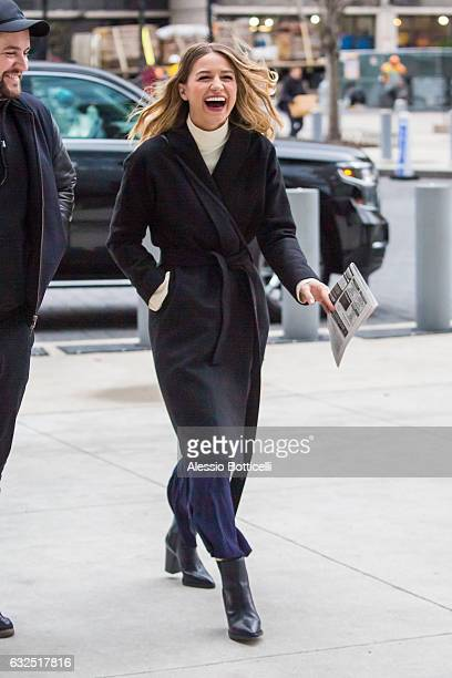 Melissa Benoist is seen arriving at her hotel on January 23 2017 in New York New York