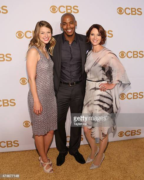 Melissa Benoist Mehcad Brooks and Chyler Leigh attend the 2015 CBS Upfront at The Tent at Lincoln Center on May 13 2015 in New York City
