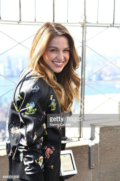 Melissa Benoist 'Supergirl' visits The Empire State Building on October 26 2015 in New York City