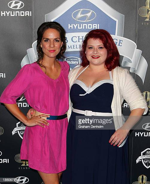 Melissa Bergland and Michala Banas arrive at the after party following LA Galaxy's match against Melbourne Victory at Club 23 on December 6 2011 in...