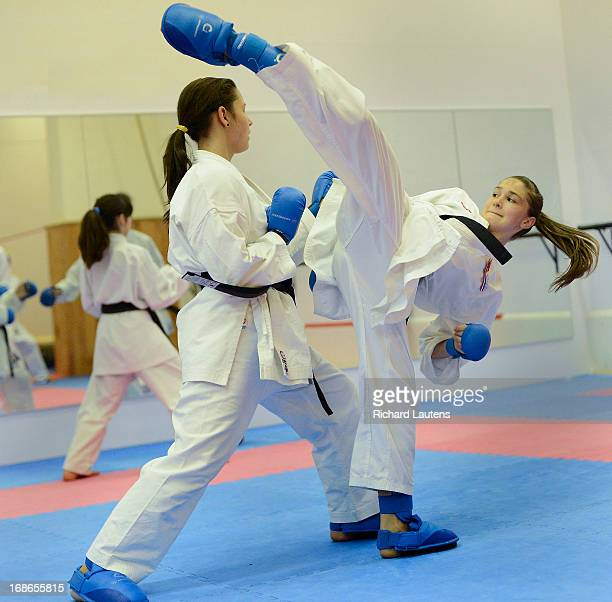 Melissa Bratic 13 works on her high kick as she spars with a classmate Melissa is on both the Ontario and National Karate teams She has won gold at...