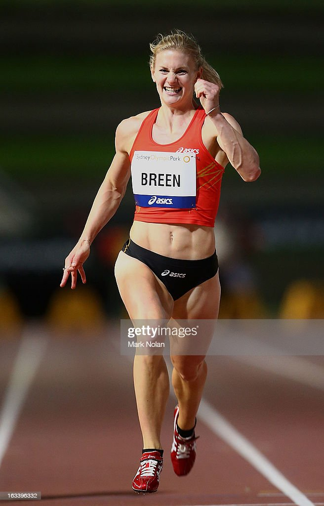 Melissa Breen heads for the finish line to win the womens 200 metres during the Sydney Track Classic at Sydney Olympic Park Sports Centre on March 9, 2013 in Sydney, Australia.