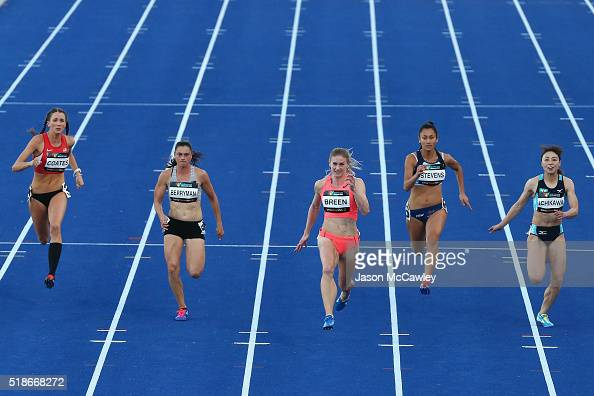 Melissa Breen of the ACT competes in the womens 100m semi final during the Australian Athletics Championships at Sydney Olympic Park on April 2 2016...