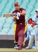 Melissa Bulow of the Fire bats during the WNCL Final match between the NSW Breakers and the Queensland Fire at the Sydney Cricket Ground on January...
