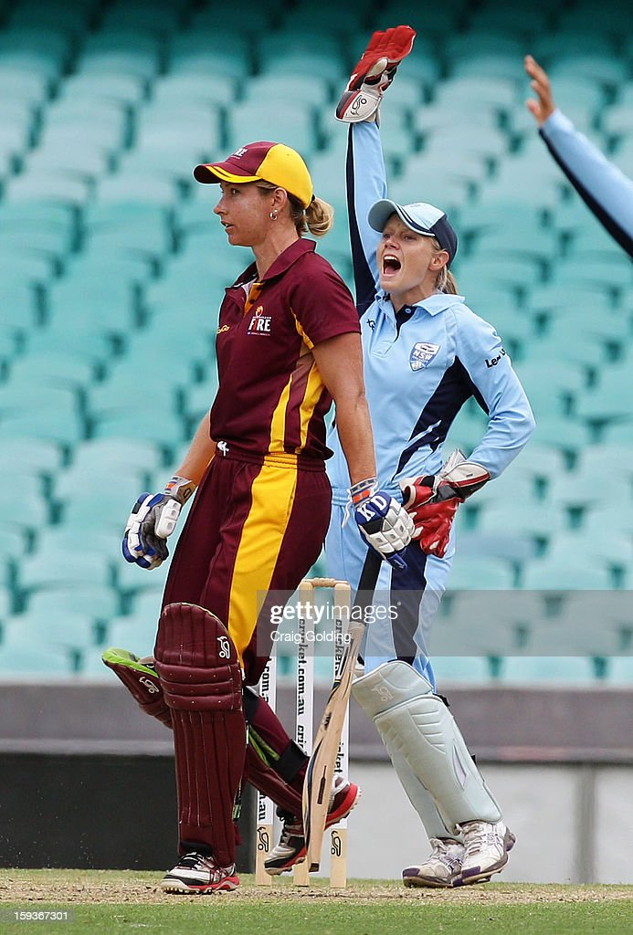 Melissa Bulow of the Fire is given out lbw to Sarah Coyte, Alyssa Healy appeals from behind the stumps during the WNCL Final match between the NSW Breakers and the Queensland Fire at the Sydney Cricket Ground on January 13, 2013 in Sydney, Australia.