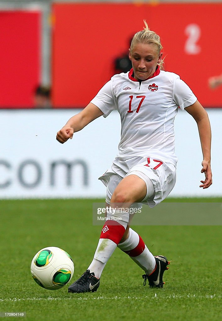 Melissa Busque of Canada runs with the ball during the Women's International Friendly match between Germany and Canada at Benteler Arena on June 19, 2013 in Paderborn, Germany.