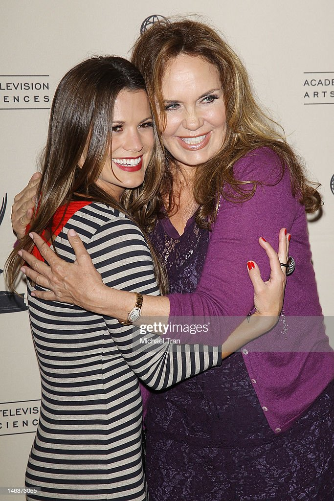 <a gi-track='captionPersonalityLinkClicked' href=/galleries/search?phrase=Melissa+Claire+Egan&family=editorial&specificpeople=4164662 ng-click='$event.stopPropagation()'>Melissa Claire Egan</a> (L) and <a gi-track='captionPersonalityLinkClicked' href=/galleries/search?phrase=Catherine+Bach&family=editorial&specificpeople=848213 ng-click='$event.stopPropagation()'>Catherine Bach</a> arrive at 39th Daytime Entertainment Emmy Awards - nominees reception held at SLS Hotel on June 14, 2012 in Beverly Hills, California.