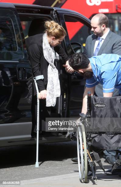 Melissa Cochran wife of Kurt Cochran who died in the attack on Westminster Bridge attends Service of Hope at Westminster Abbey on April 5 2017 in...