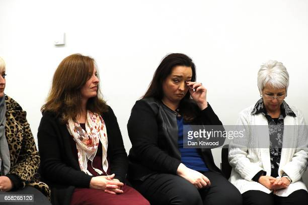 Melissa Cochran's sister Angela and other family members answer questions from the press at New Scotland Yard on March 27 2017 in London England Kurt...