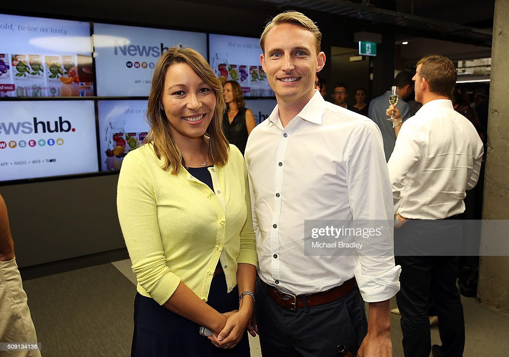 Melissa Davies and Tom McRae pose at the launch of Newshub, MediaWorks new cross-platform news service on February 9, 2016 in Auckland, New Zealand.