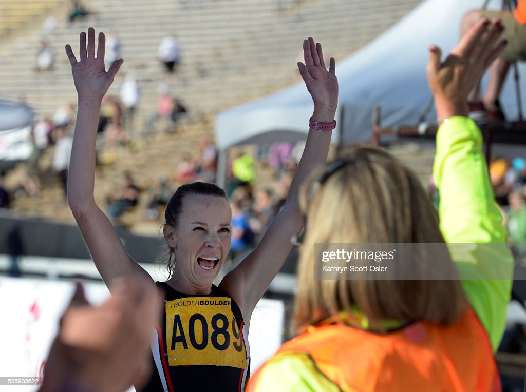 Melissa Dock of Boulder is the female winner of the citizen's race. The 38th BolderBOULDER takes place along Boulder's streets with the finish line of the 10k race at Folsom Field on the University of Colorado campus on Monday, May 30, 2016.