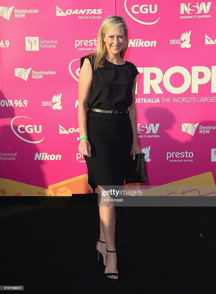 <a gi-track='captionPersonalityLinkClicked' href=/galleries/search?phrase=Melissa+Doyle&family=editorial&specificpeople=2120429 ng-click='$event.stopPropagation()'>Melissa Doyle</a> arrives ahead of Tropfest 2016 at Centennial Park on February 14, 2016 in Sydney, Australia.