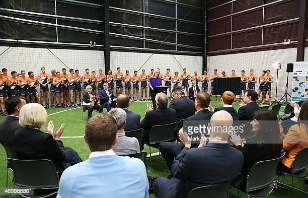 Melissa Doyle speaks to the media during the official opening of the Learning Life Centre at Sydney Olympic Park Sports Centre on February 18 2014 in...
