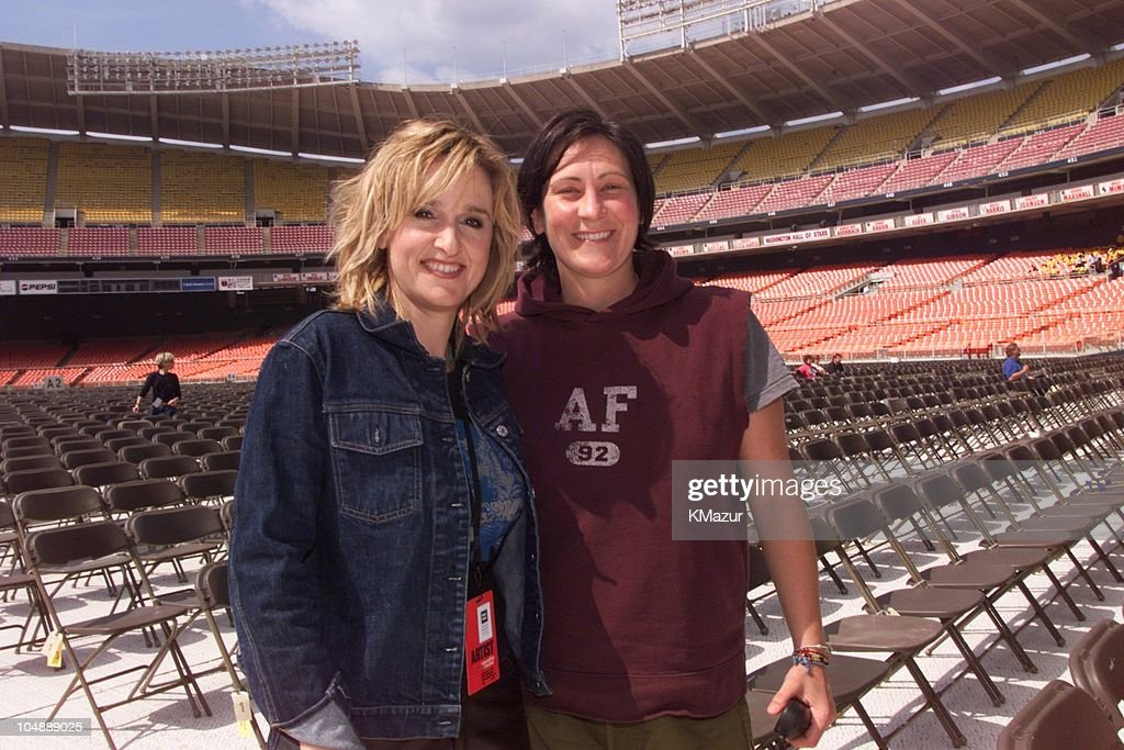 <a gi-track='captionPersonalityLinkClicked' href=/galleries/search?phrase=Melissa+Etheridge&family=editorial&specificpeople=206313 ng-click='$event.stopPropagation()'>Melissa Etheridge</a> & k.d. Lang at rehearsals during Equality Rocks Concert at RFK Stadium - April 29, 2000 at RFK Stadium in Washington, D.C., United States.