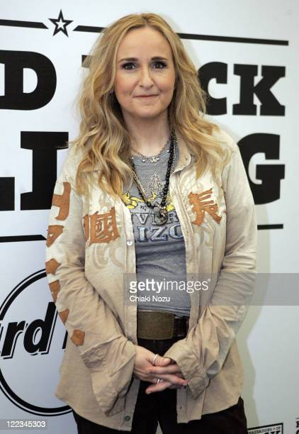 Melissa Etheridge poses backstage during Day 2 of Hard Rock Calling at Hyde Park on June 26 2010 in London England