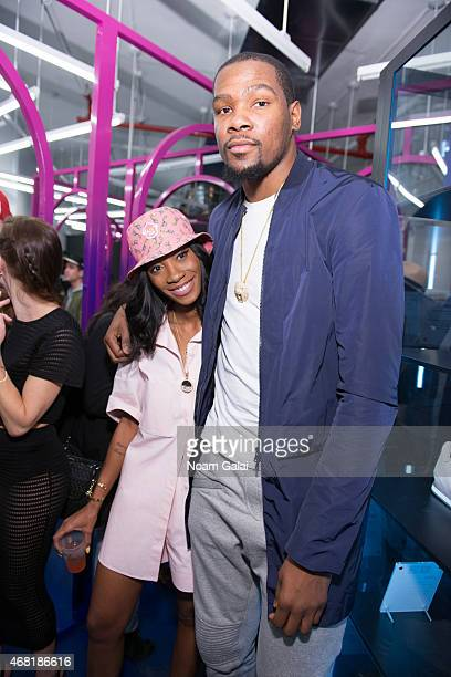 Melissa Forde and NBA Player Kevin Durant attend the Opening Ceremony 'M$$ X WT' launch event at Opening Ceremony on March 30 2015 in New York City