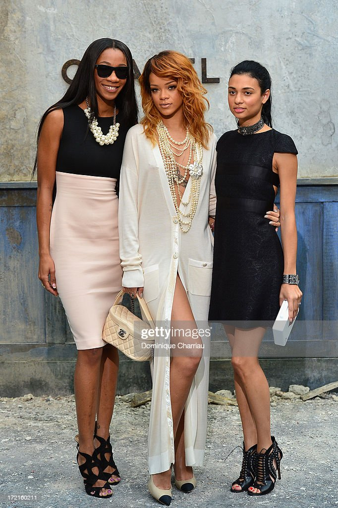 Melissa Forde, <a gi-track='captionPersonalityLinkClicked' href=/galleries/search?phrase=Rihanna&family=editorial&specificpeople=453439 ng-click='$event.stopPropagation()'>Rihanna</a> and guest attend the Chanel show as part of Paris Fashion Week Haute Couture Fall/Winter 2013-2014 at Grand Palais on July 2, 2013 in Paris, France.