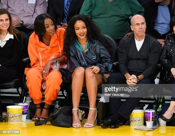 Melissa Forde Rihanna and Jeffrey Katzenberg attend a basketball game between the Cleveland Cavaliers and the Los Angeles Lakers at Staples Center on...