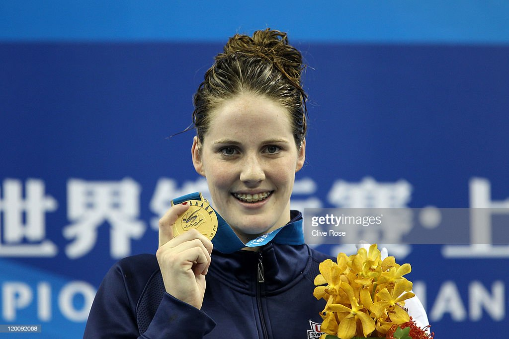Melissa Franklin of the United States smiles after winning the gold medal in the Women's 200m Backstroke Final during Day Fifteen of the 14th FINA World Championships at the Oriental Sports Center on July 30, 2011 in Shanghai, China.