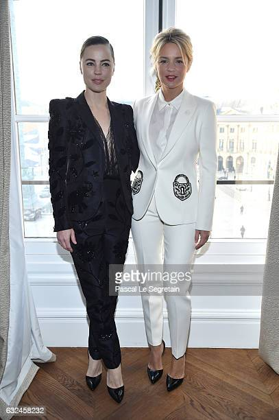 Melissa George and Virginie Efira attends the Schiaparelli Haute Couture Spring Summer 2017 show as part of Paris Fashion Week on January 23 2017 in...