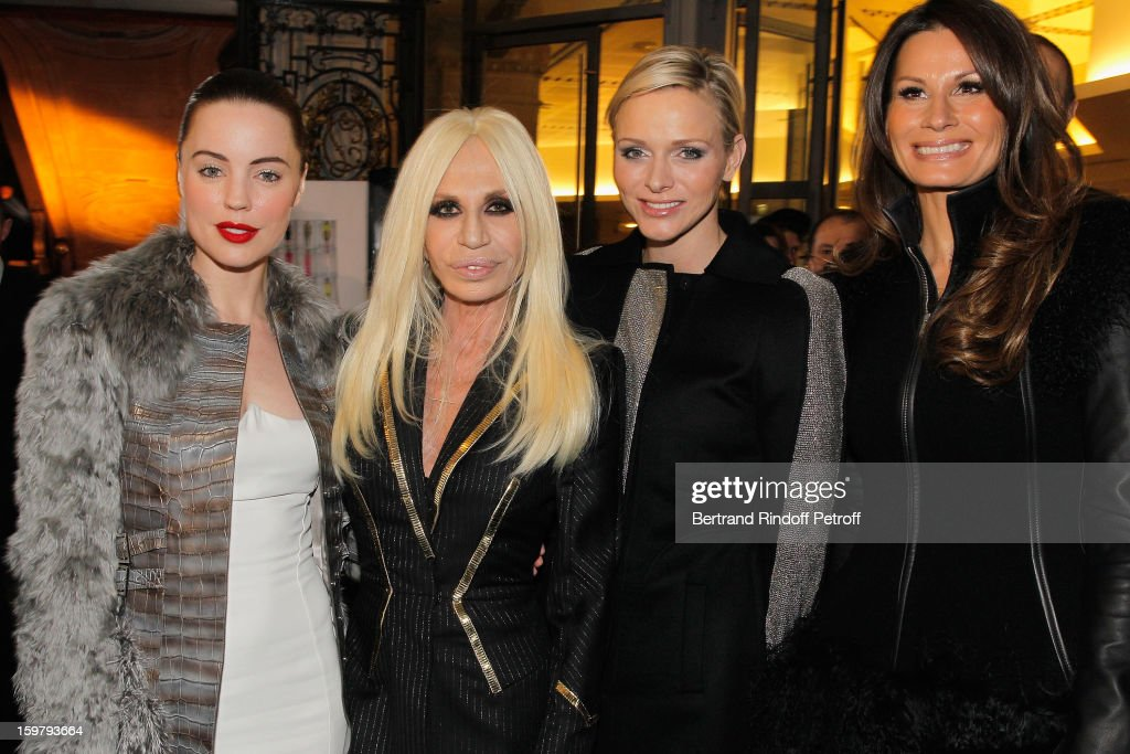 Melissa George, Donatella Versace, Princess Charlene of Monaco and guest attend the Versace Spring/Summer 2013 Haute-Couture show as part of Paris Fashion Week at Le Centorial on January 20, 2013 in Paris, France.