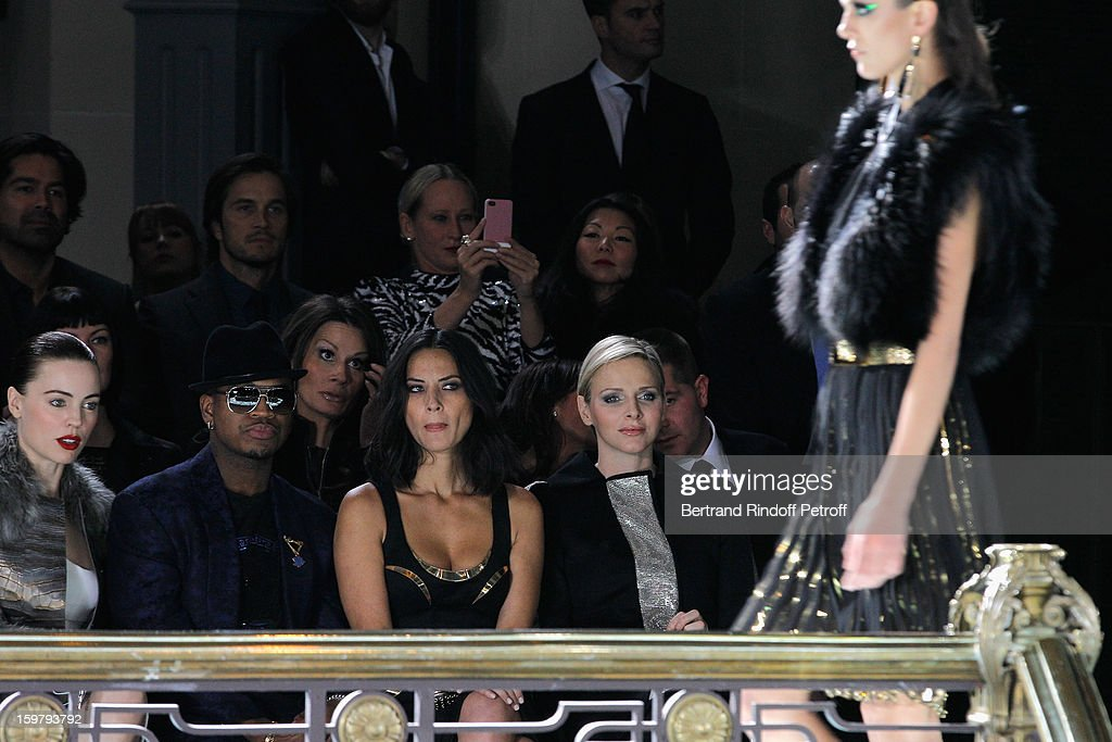 Melissa George, Ne-Yo, Olivia Munn and Princess Charlene of Monaco attend the Versace Spring/Summer 2013 Haute-Couture show as part of Paris Fashion Week at Le Centorial on January 20, 2013 in Paris, France.