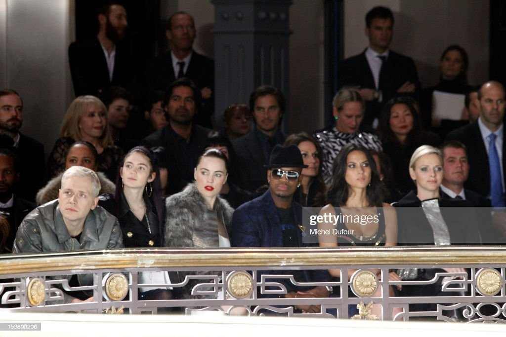 Melissa Georges, Ne-Yo, Olivia Munn and Princess Charlene of Monaco attend the Versace Spring/Summer 2013 Haute-Couture show as part of Paris Fashion Week at Le Centorial on January 20, 2013 in Paris, France.