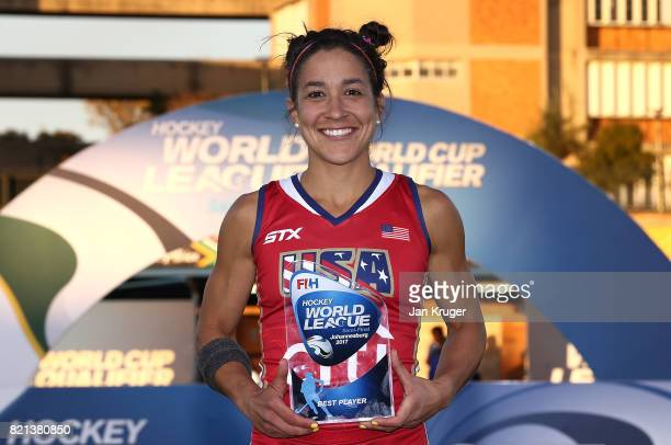 Melissa Gonzalez of the US poses with the best player award during day 9 of the FIH Hockey World League Women's Semi Finals at Wits University on...